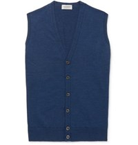 John Smedley Slim Fit Merino Wool Sweater Vest Indigo