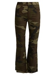 Maison Martin Margiela Camouflage Print Flared Cropped Cotton Trousers