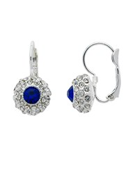 Monet Silver Sapphire Crystal Lever Earrings Black