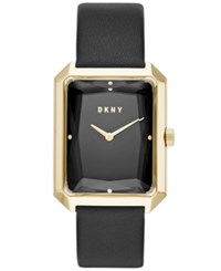 Dkny Women's Cityspire Black Leather Strap Watch 27X34mm Created For Macy's No Color