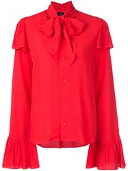 G.V.G.V. Rayon Crepe Pussy Bow Blouse Women Rayon 34 Red