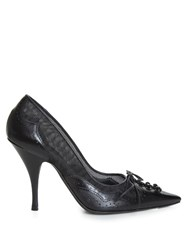 Givenchy Rika Brogue Detail Mesh And Leather Pumps