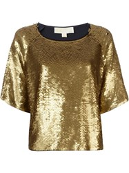 Michael Michael Kors Ruffled Sequin Embellished Top Blue