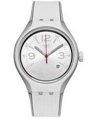 Swatch Unisex Swiss Go Dance Gray And White Silicone Strap Watch 41Mm Yes4005
