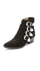 Toga Pulla Buckled Suede Booties Black