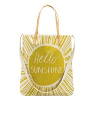 White Stuff Tara Print Canvas Tote Yellow