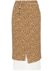 Rejina Pyo Leopard Print High Waisted Double Layer Cotton Skirt Brown