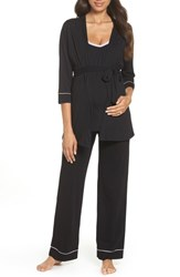 Belabumbum Maternity Nursing Robe And Pajamas Black