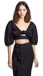 Edit Bow Front Crop Top Black