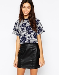 Influence Stripes And Roses Cropped Boxy Top Navy