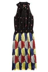 Marco De Vincenzo Silk Dress With Fringed Skirt Multicolor