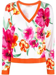Twin Set Embroidered Floral Knit Jumper White