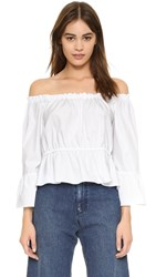 Amanda Uprichard Off Shoulder Flare Sleeve Top White