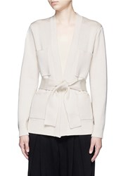 Ms Min Milano Knit Belted Cardigan Neutral