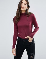 Brave Soul Roll Neck Top Red