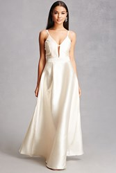 Forever 21 Soieblu Plunge Front Gown Champagne