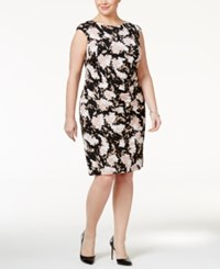 Jessica Howard Plus Size Metallic Floral Ruched Sheath Dress Black Pink