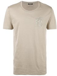 Balmain Embroidered Lion T Shirt Beige
