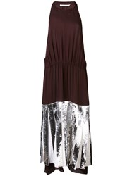Tibi Claude Sequin Panel Halterneck Dress Brown