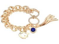 Guess Double Chain Toggle Bracelet With Charms And Tassel Gold Crystal Cobalt Blue Bracelet