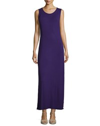 Joan Vass New York Sleeveless Scoop Neck Side Slit Maxi Dress Violet Gem