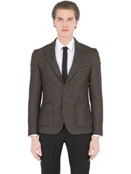 Daniele Alessandrini Grey Cotton And Wool Blend Houndstooth Jacket
