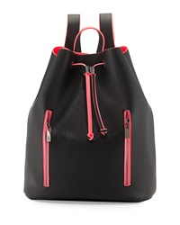 Neiman Marcus Neon Contrast Drawstring Backpack Black Pink