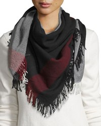 Burberry Wool Color Check Square Scarf Black White Black White