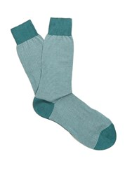 Pantherella Seymour Striped Cotton Blend Socks Green