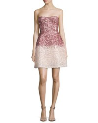 Monique Lhuillier Strapless Ombre Sequined Cocktail Dress Pink