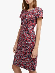French Connection Alletea Floral Fitted Dress Rosso Red Multi