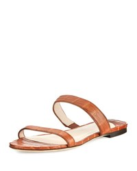 Nancy Gonzalez Frida Two Strap Crocodile Flat Slide Sandal Cognac Matte