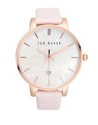Ted Baker Classic Stainless Steel And Leather Watch Pink