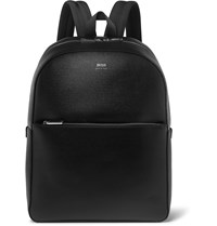 Hugo Boss Full Grain Leather Backpack Black