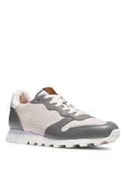 Coach Perforated Leather Low Top Sneakers Grey