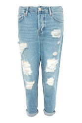 Topshop Tall 36 Super Rip Hayden Jeans Bleach Denim