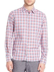 Saks Fifth Avenue Button Front Checked Shirt Red