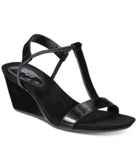 Styleandco. Style Co Mulan Wedge Sandals Created For Macy's Women's Shoes Black Smooth