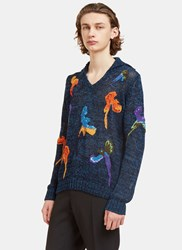 Missoni Bird Embroidered Hooded Knit Sweater Navy
