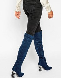 Daisy Street Detailed Heeled Over The Knee Boots Navy Mf
