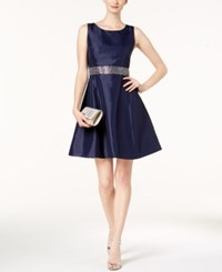 Nine West Embellished Fit And Flare Dress Navy