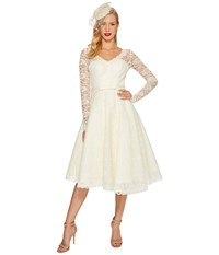Unique Vintage Long Sleeve Martinique Swing Dress Ivory Women's Dress White