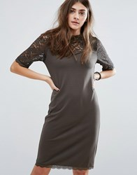 B.Young 3 4 Sleeve Lace Shift Dress Mountain Green