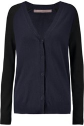 Halston Heritage Two Tone Wool And Cashmere Blend Cardigan Navy