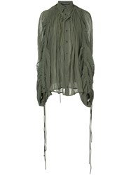 Y Project Pleated Button Shirt Green