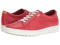 Ecco Soft Vii Sneaker Tomato Cow Leather Cow Nubuck Women's Lace Up Casual Shoes Coral