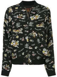 Hysteric Glamour Printed Bomber Jacket Cupro Rayon Black