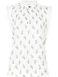 Rebecca Taylor Floral Print Sleeveless Blouse White