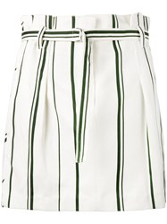3.1 Phillip Lim Stripe Pleated Mini Skirt Women Cotton Linen Flax 6 White