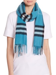 Burberry Giant Check Cashmere Scarf Dusty Teal